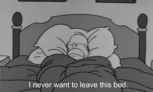 bed, black and white, haha, homer, leave