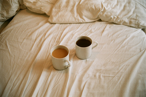 bed, coffee, cup, cups, delicious, drink, food, hers, his, morning, mug, mugs, sheets, tea, yummy