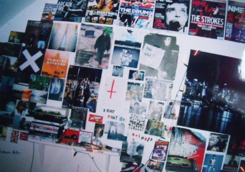 bedroom, bedroom wall, posters, the strokes, the xx, vampire weekend, wall