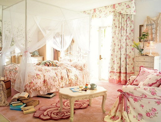 bedroom, cute, floral, flowers, girly