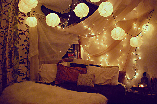 bedroom, lights, room