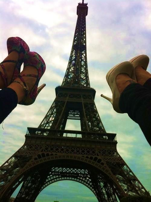 beige heels, eiffel tower, flower heels, paris, photography, shoes