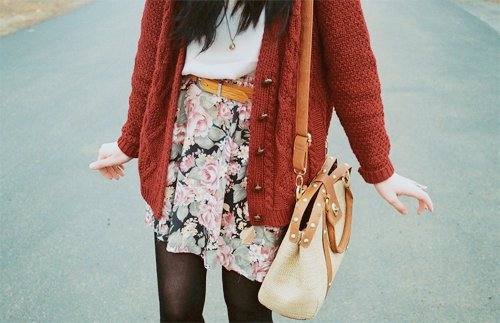 belt, cardigan, dress, fashion, floral