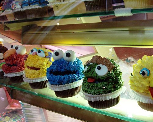 big bird, chocolate, cookie monster, cupcakes, elmo