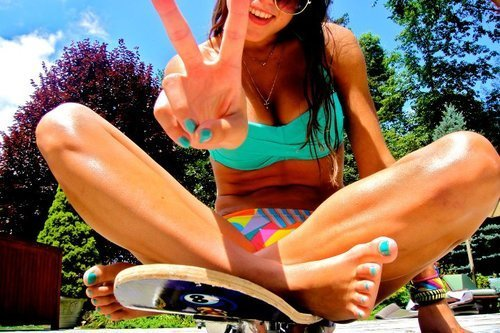 bikini, blue, colours, girl, nail, pretty, skate