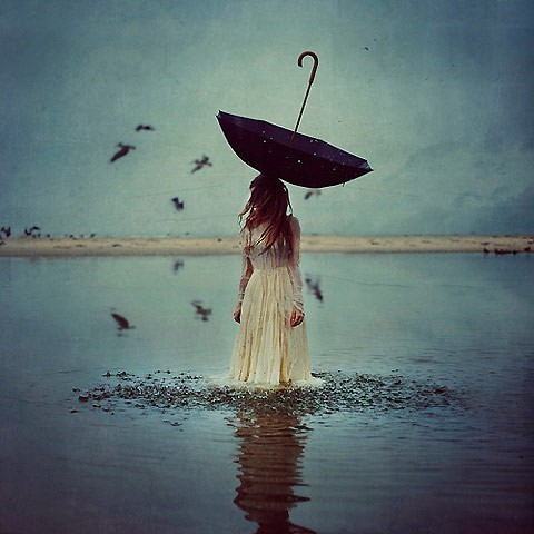 bird, birds, colors, cute, girl, hate, love, ocean, photo, photography, picture, sad, sea, umbrella, water, woman