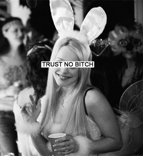 bitch, black, black and white, lips, lol, mean girls, rabbit, text, trust, trusting, white