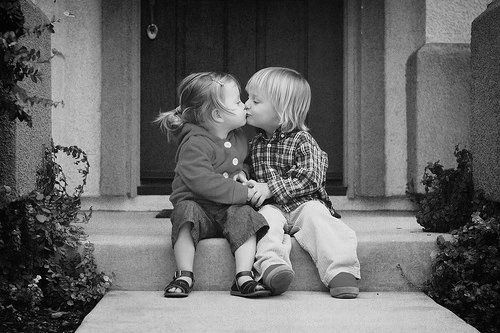 black and white, couple, cute, kids