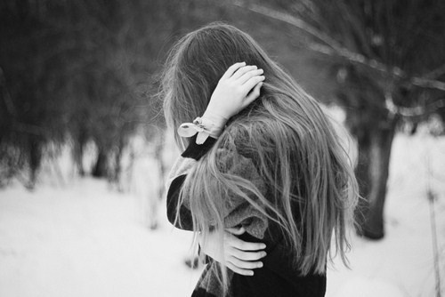 black and white, crying, cute, girl, hair