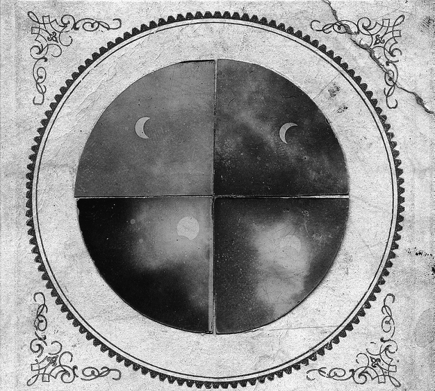 black and white, moon, phases of the moon, vintage
