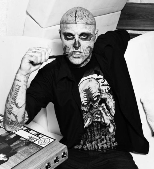 black and white, rick genest, zombie boy