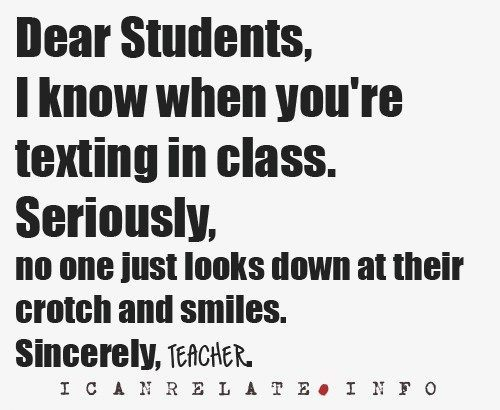 black and white, sms, teacher, text, texting, texting in class