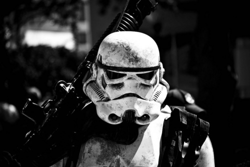 black and white, star wars, storm trooper