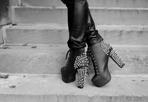 black, black and white, fashion, jeffrey campbell litas, shoes