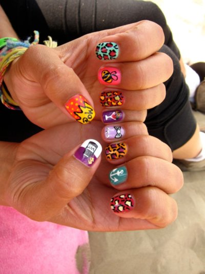 black, blue, colourful, cool, girl, girly, hipster, nail art, nail polish, orange, pink, violet, white, yellow