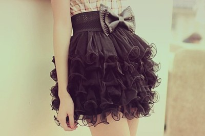 black, bow, fashion, girl, lace, pretty, skirt