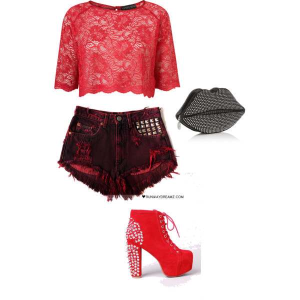 black, fashion, jeffrey campbell, lips, polyvore, red, style