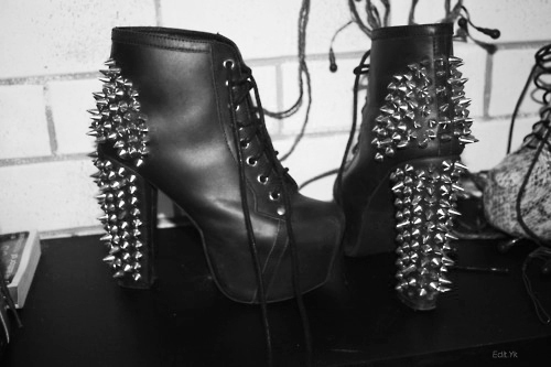 Black Punk Leather Platform, New Rock Shoes and Boots - Blac