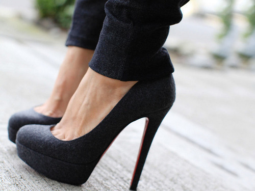 black, girly, heels, high, high heels