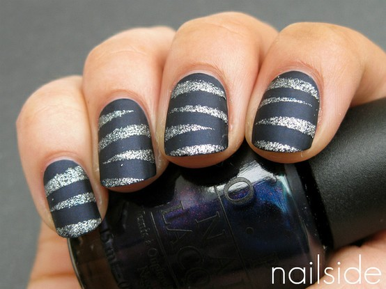 Nail Polish Designs Silver Black Nails