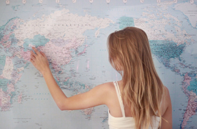 blonde, cute, girl, map, photography, travel, world