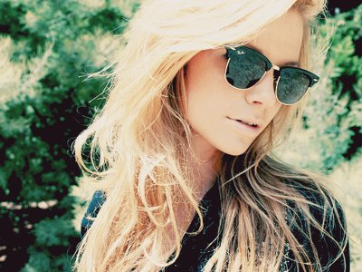 blonde, fashion, girl, glasses, hair, ray ban, summer, sunglasses