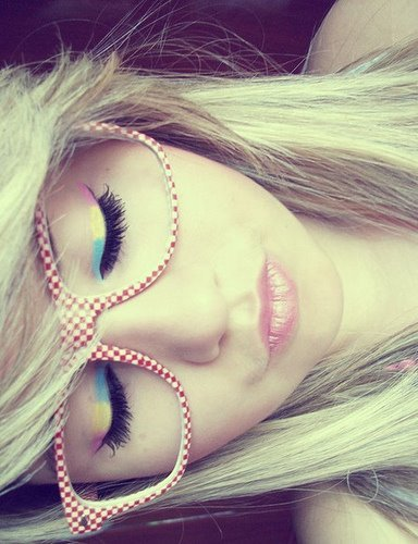blonde, girl, glasses and makeup