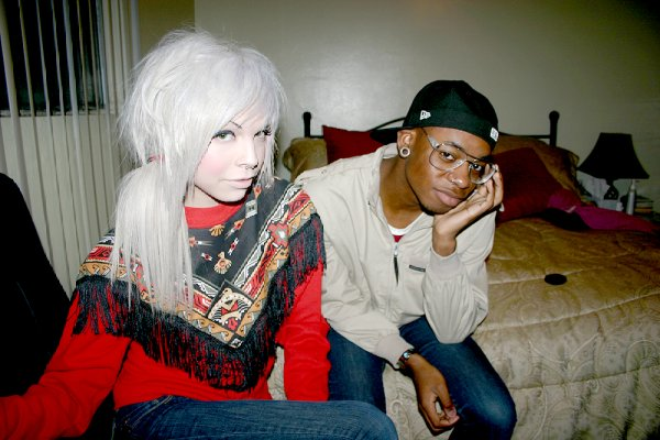 blonde hair, boy, couple, drag, gauges, girl, izzy hilton, piercings, platinum blonde, sweater, the blonde is a dude