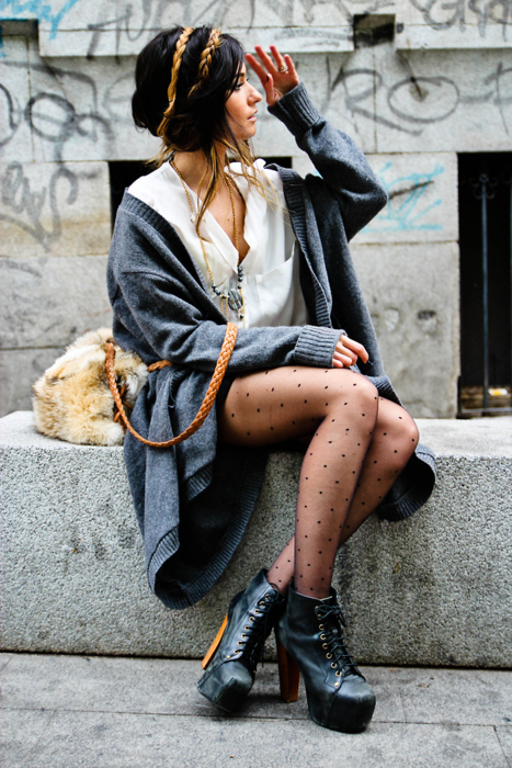 blouse, braided, city, cute, fall, fall fashion, fashion, fur, fur coat, girl, jeffrey campbell, jeffrey campbell lita, lita, lita boots, oversize cardigan, street fashion, street style, tights