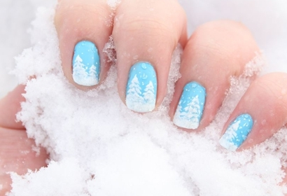 blue, blue nails, cute, nails, snow