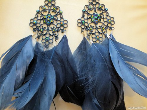 blue, cute, earrings, fashion, feather, girly, glamorous, hipster, jewellery, luxury, style