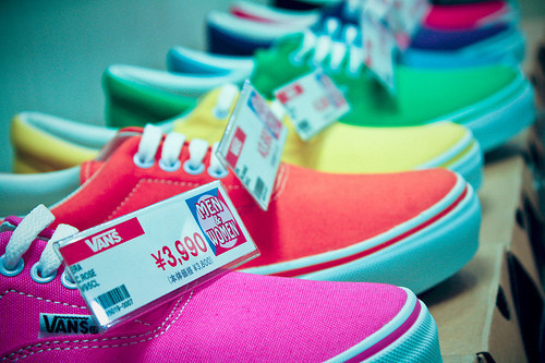 blue, fashion, green, orange, pink, shoes, vans, yellow