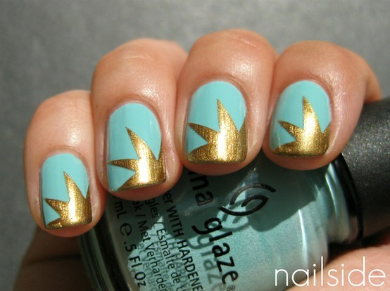 blue, glitter, gold, nail, nail art