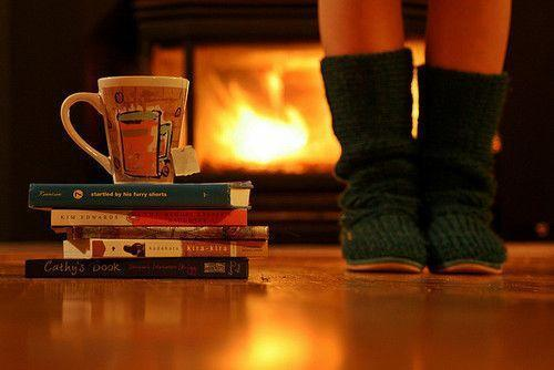 books, christmas, cozy, cup, feeling, fire, fireplace, free time, green, home, hot, light, mug, nostalgia, read, socks, tea, warm