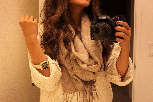 borwn, camera, girl, hair, long, photography, scarf, watch