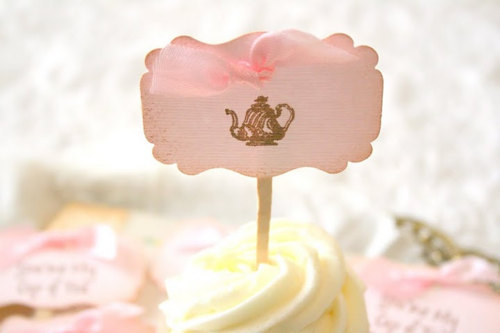 bow, cup cake, cupcake, cute, fashion, lepillow, pink, ribbon, sweet, tag, tea, tea cup, teacup, teapot, vintage