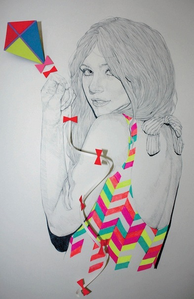 bow, drawing, girl, illustration, kite, niki pilkington