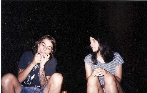 boy, cute, girl, hipster, indie, night, smoke, smoking, stars, tattoo