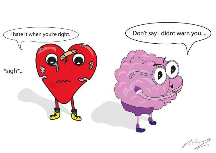 brain, cartoon, heart, heart and brain, heart broke