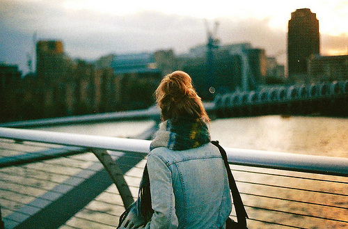 bridge, bun, city, girl, jacket