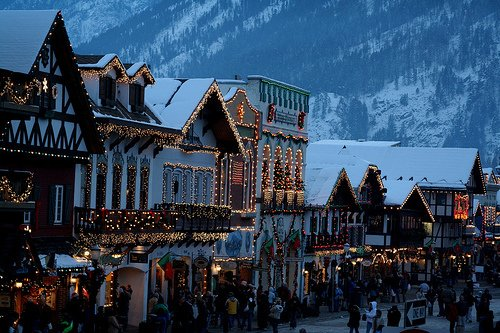 bright, christmas, decorations, festive, lights, pretty, snow, street, town, winter