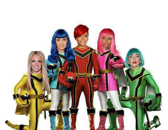 britney spears, katy perry, lady gaga, nicky minaj, power rangers