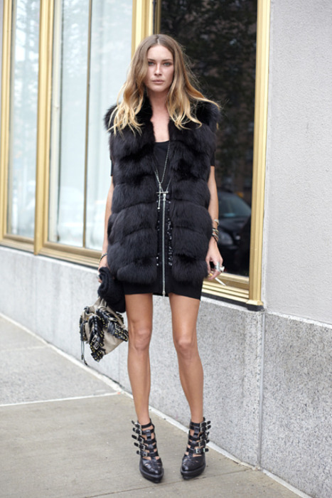 buckles, erin wasson, fashion, fur, model, street style, style