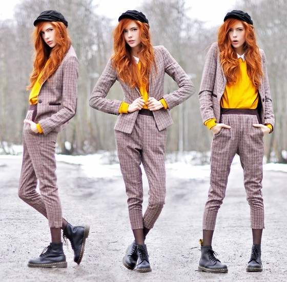 butcher, capri, clothes, clothing, cute, doc martens, doc martins, fashion, girl, gray, hair, lookbook, love, man style, model, pretty, red, red hair, redhead, shoes, skinny, snow, thin, yellow