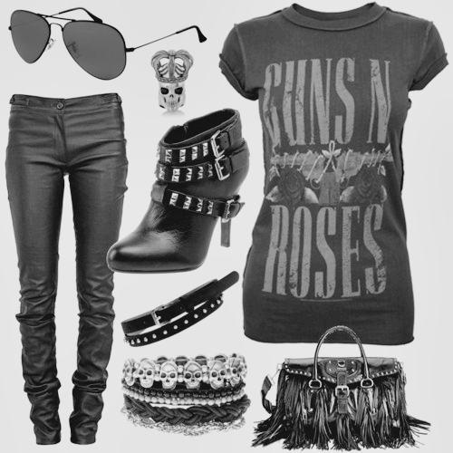 by natasha gilheta, guns n roses, guns n roses t-shirt, moda, rocker