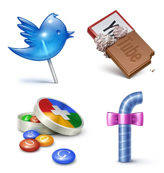 candies, chocolate, facebook, google, twitter, youtube
