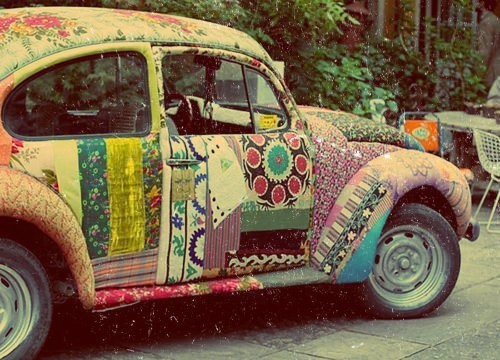 car, colors, hippie, prints, vintage