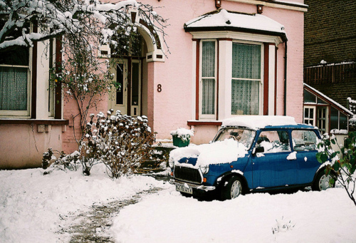 car, house, photography, snow, vintage, winter