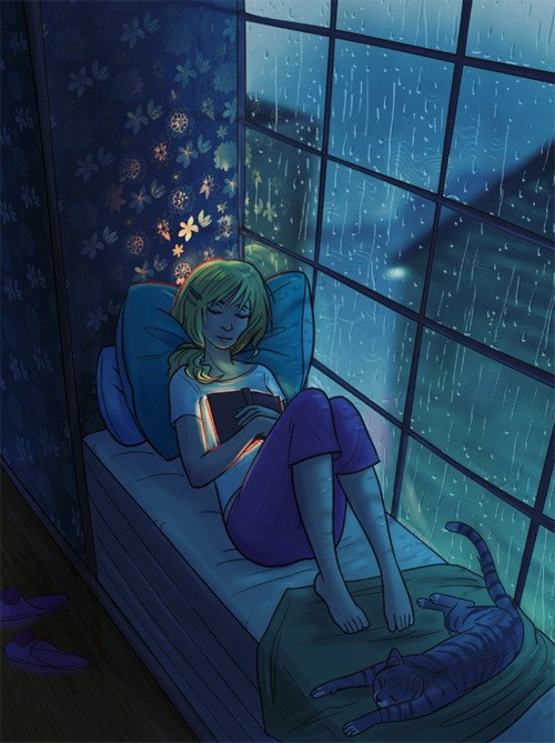 cartoon, drawing, girl, pretty, rain