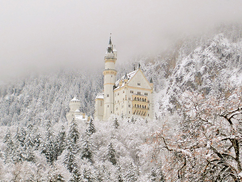 castle, fairy tale, fantasy, forest, magical, snow, storybook, white, winter